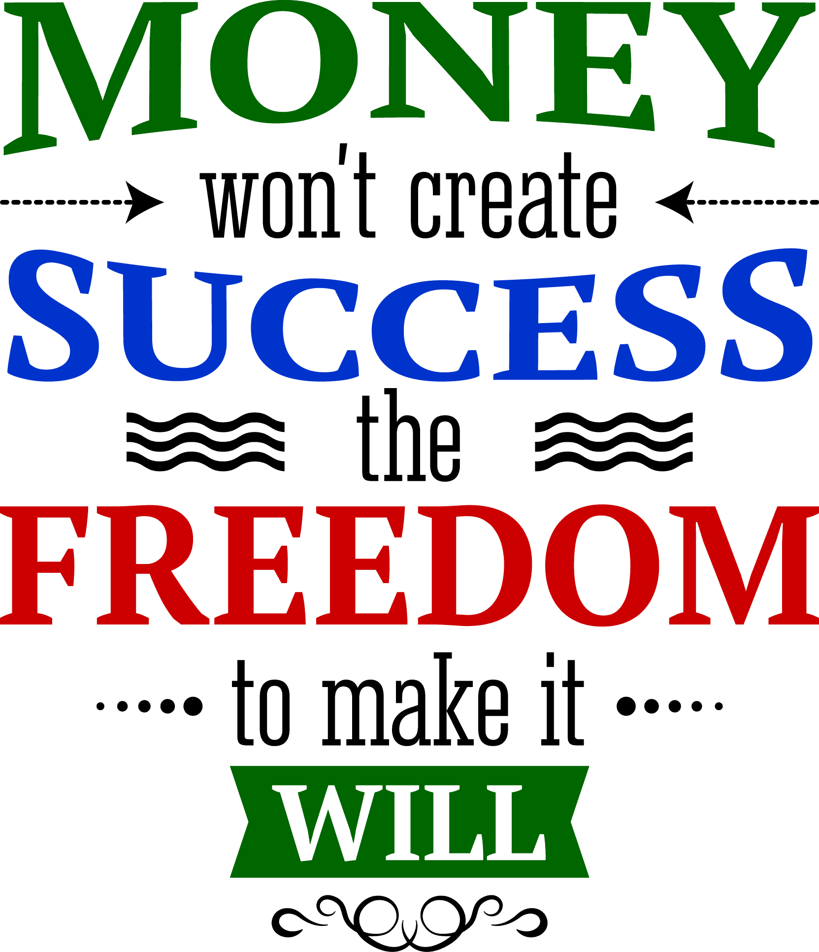 money won't create success, the freedom to make it will